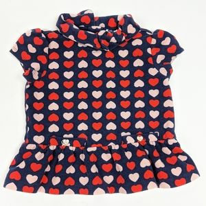Janie and Jack Heart Print Shirt Collared Bow Top